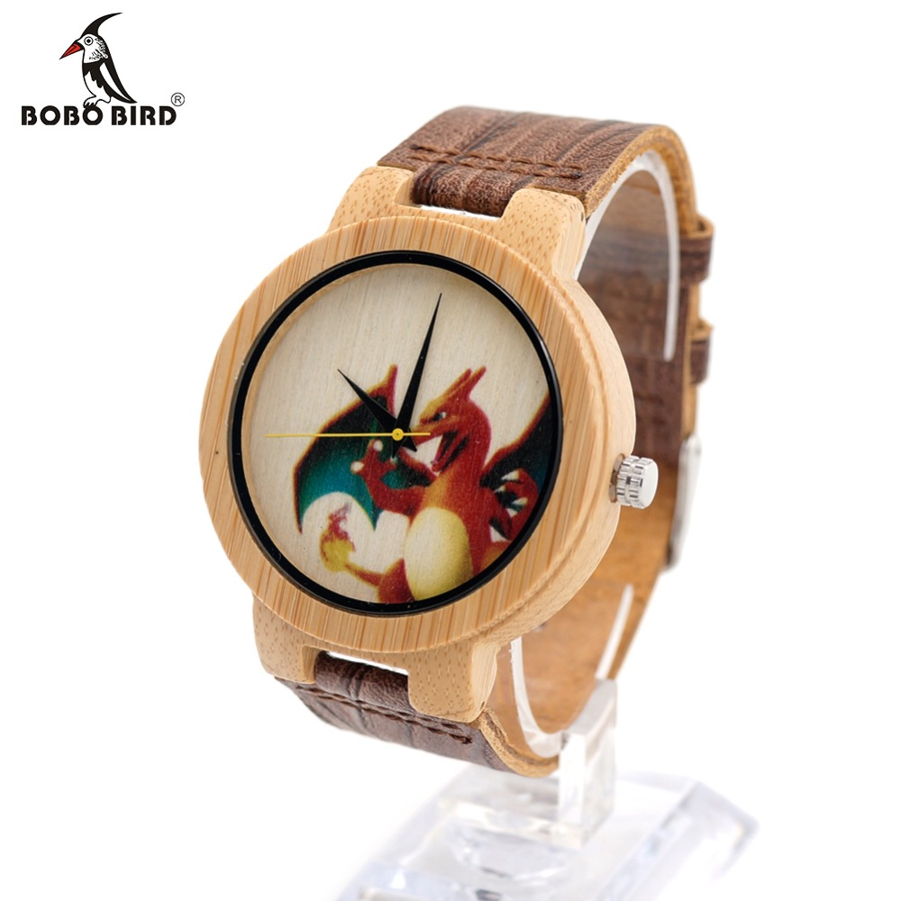 BOBO BIRD E10 Mens Peking Opera Colorful Faces Design Brand Luxury Wooden Bamboo Watches With Real
