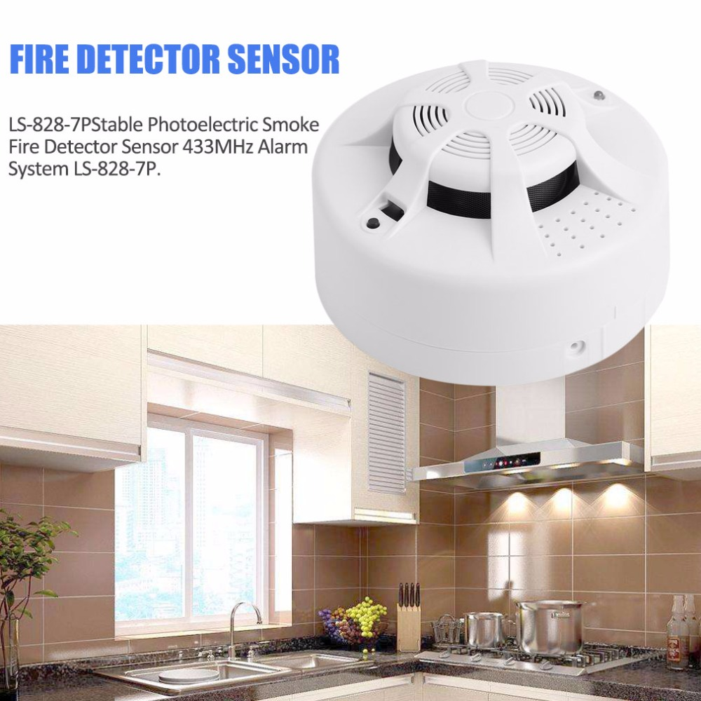 Stable Photoelectric Wireless Smoke Fire Detector Sensor 433MHz Alarm System LS-828-7P wireless vibration break breakage glass sensor detector 433mhz for alarm system