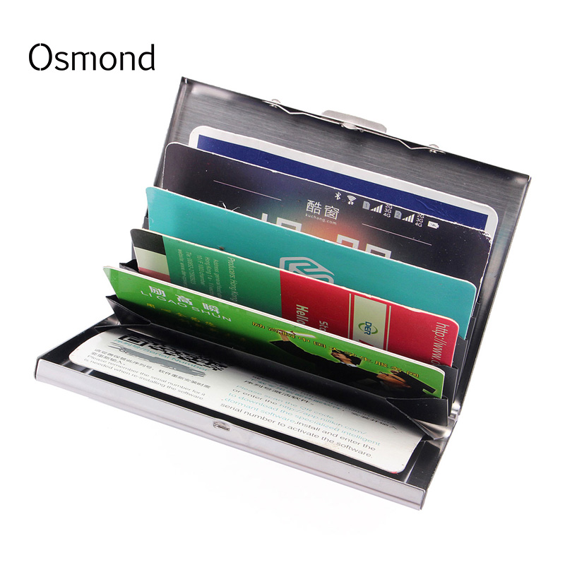 Osmond Male ID Cardholder 6 Solt Business Card Holder Box Bank Credit Card Metal Case Cover Pockets Stainless Aluminium Wallet 2018 pu leather unisex business card holder wallet bank credit card case id holders women cardholder porte carte card case