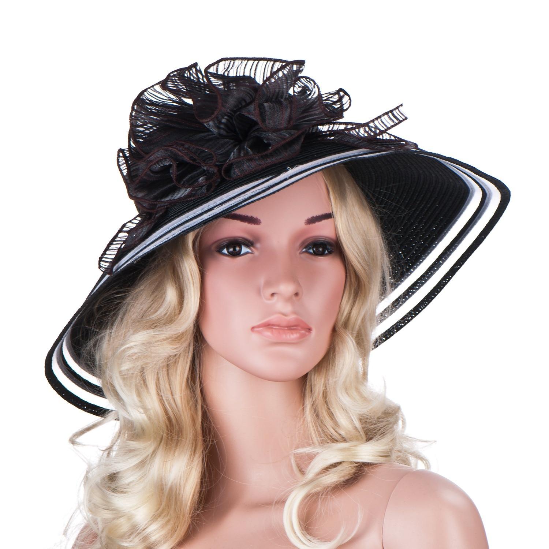 2439edb17b6ca8 Neue stil Frauen Kleid Kirche Hochzeit Kentucky Derby Breite Krempe Stroh  Sommer Strand Hut für frauen