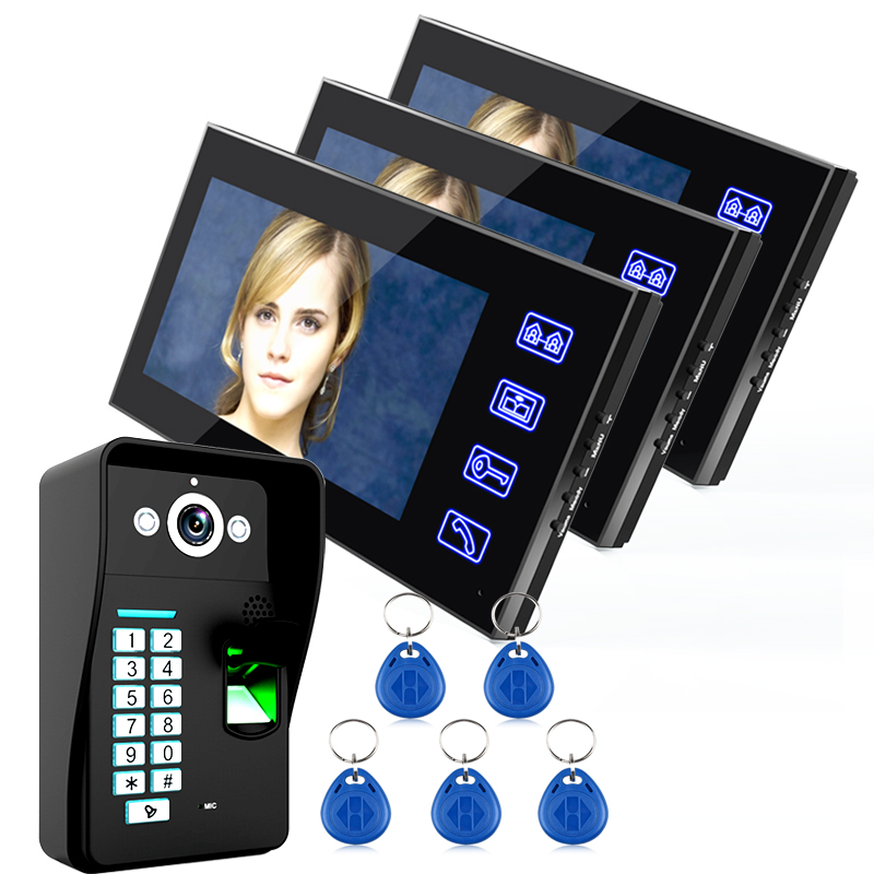 Interphone intercom video door Wired Fingerprint Recognition 3 Monitor+1 Kit IR Night Vision Camera +5pcs RFID Keyfobs [readstar] speak recognition voice recognition module v3 1