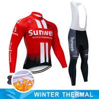 2019 Pro Winter Thermal Fleece Long Cycling Jersey 9D Gel Pad Bike Pants Set Mens MTB Ropa Ciclismo Bicycling Maillot Clothes