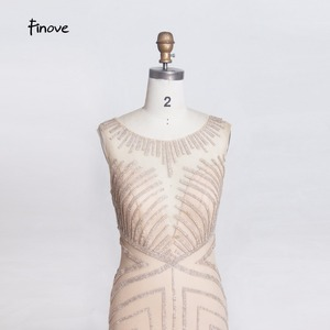 Image 5 - Finove 구슬 긴 이브닝 드레스 2020 섹시한 환상 오 넥 뒤를 통해 인어 바닥 길이 파티 드레스 정장 드레스 가운