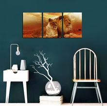 Animal World Series Wild Lioness and Lion Canvas Prints Modern Wall Art Paintings Animals Artwork for Room Decoration(China)