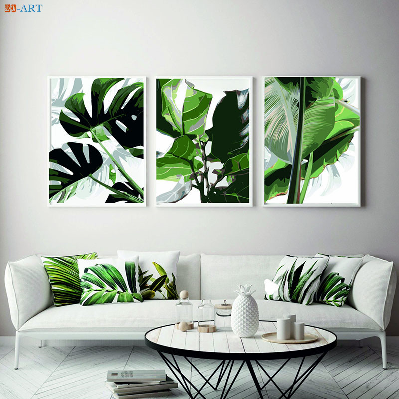 Banana Monstera Leaf Canvas Painting