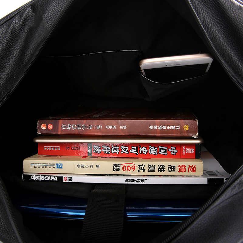 أزياء رجالي جلد حقائب السفر قدرة كبيرة للماء حقيبة ظهر قطنية خمر اليد الأمتعة حقيبة كتف