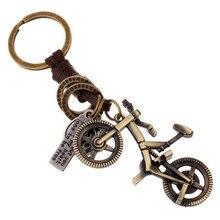 Punk Vintage bicicleta colgante encanto de cuero genuino llavero para hombres mujeres llavero coche Auto bolsa accesorio para cadena