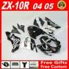 High Quality Fairings For Bodywork Kawasaki Ninja ZX 10R 04 05 ZX10R Black White WEST 2004