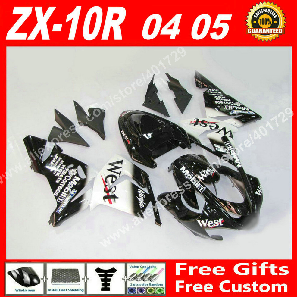 High quality Fairings for bodywork Kawasaki Ninja ZX-10R 04 05 ZX10R black white WEST 2004 2005 parts ZX10 fairing set XJ93
