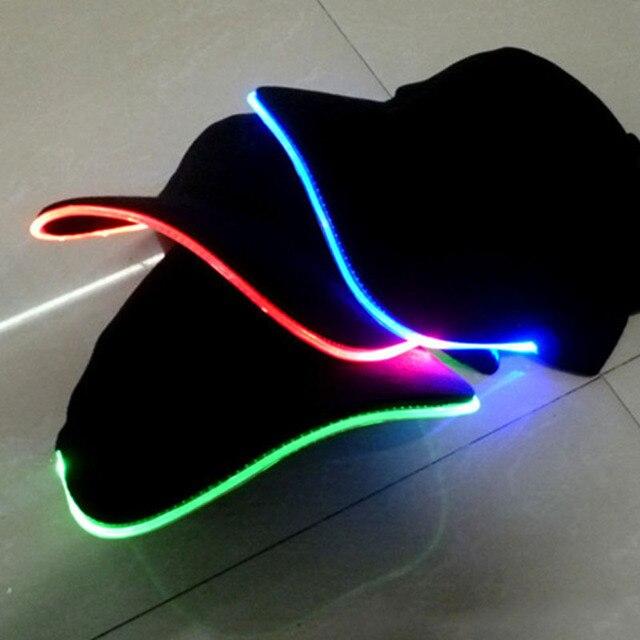 Luz led flash gorra de béisbol moda LED iluminado glow party Club negro  Telas viajes gorra 5ff38b5487a