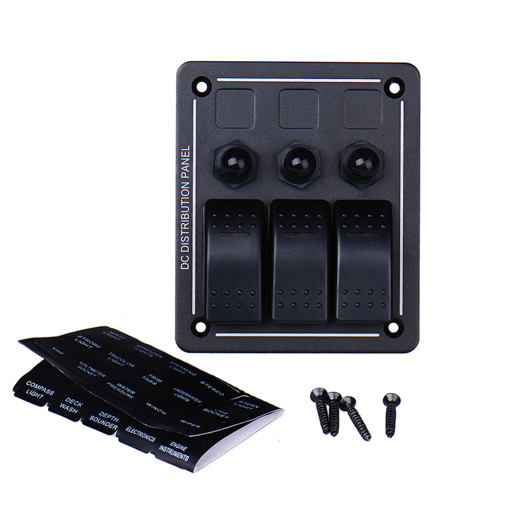 High Quality 3 Gang Aluminum LED Black Waterproof Rocker Switch Panel Marine/Boat/RV/Yacht