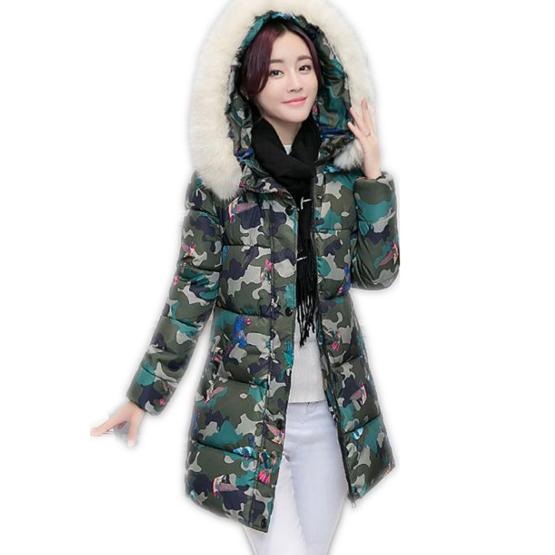 New Fashion Print 2017 Winter Women Down Cotton Medium-Long Jacket Parka Female Hooded Fur Collar Size M-3XL Outerwear CoatCQ560 подарочная медаль с годовщиной свадьбы 2 года