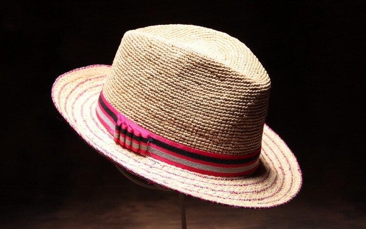 Summer panama raphia chapeau de soleil arc-cravate chapeau de plage pour femmes