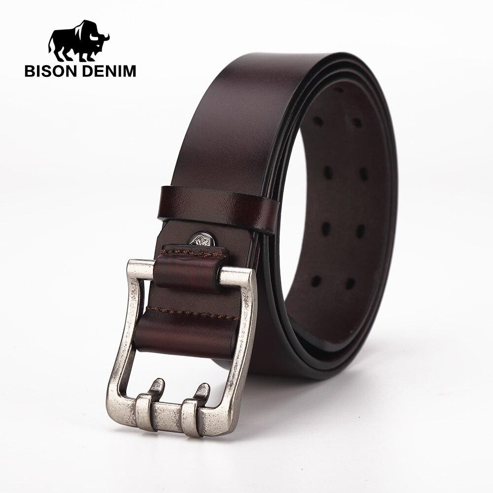 BISON DENIM véritable garantie de cuir ceintures hommes de haute qualité  Cowskin Alliage aiguille boucle Vintage jeans occasionnels ceinture N71224  dans ... 00a35a8634a