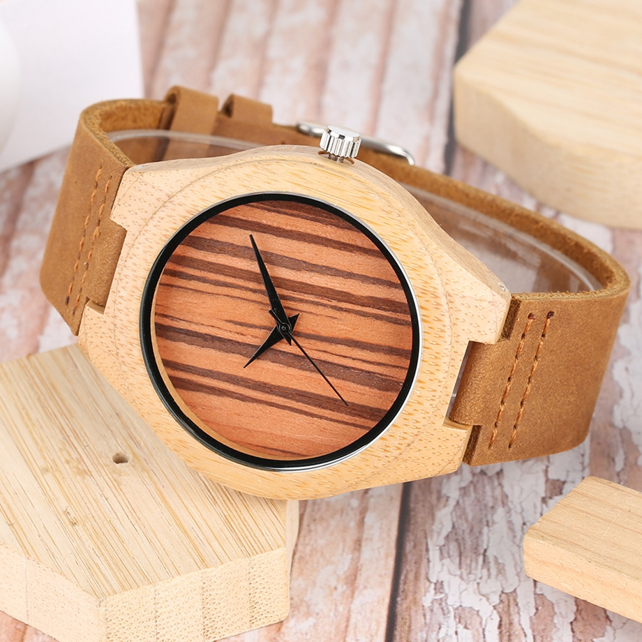 Bamboo Clock Handmade Leather Strap Watches Women Casual Quartz Wristwatch Wooden Watches 2018 Men relogio masculino (9)