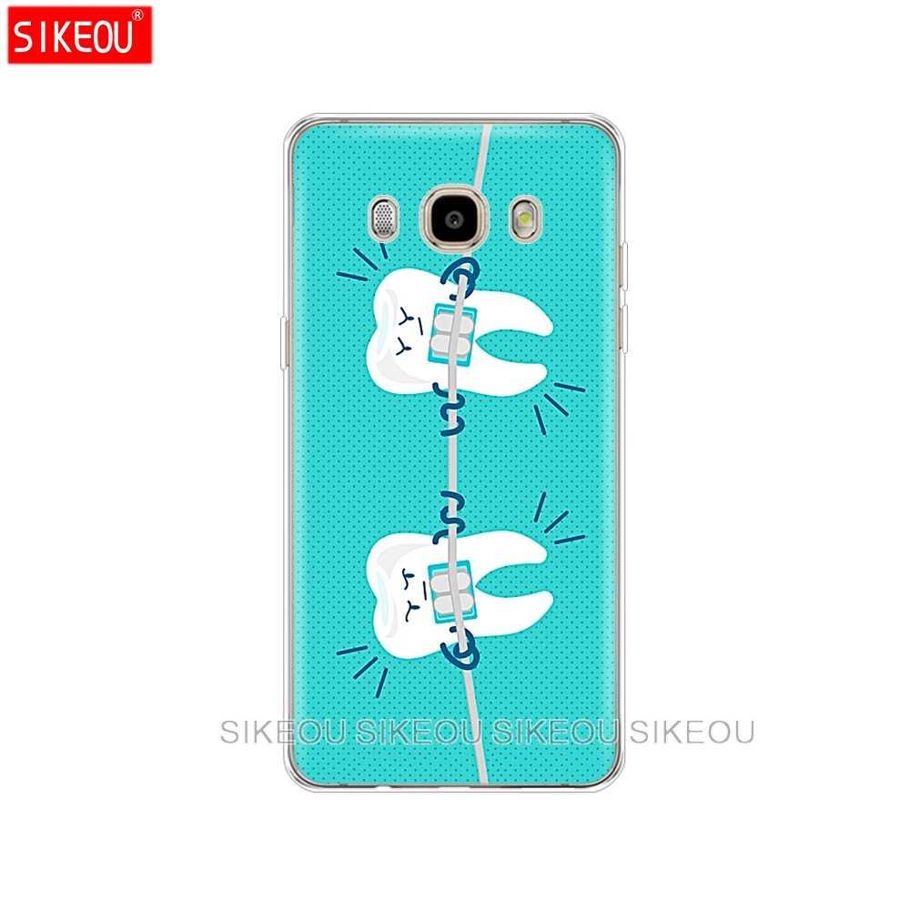 Pokrywa silikonowa etui na telefon do Samsung Galaxy J1 J2 J3 J5 J7 MINI 2016 2015 prime dentysta Dental koronowany zębów
