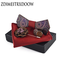 ZDJMEITRXDOOW Man Fashion Wooden Bowtie  Paisley Corbatas Gravata Jacquard Tie Handkerchief Cufflinks For Men Gift Box