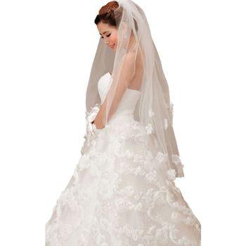 2 Tier Double-Layer Women Fingertip Short Wedding Veil Glitter Rhinestone Cloth Flower Applique Decor Trim Solid Bridal Veil Bridal Veils