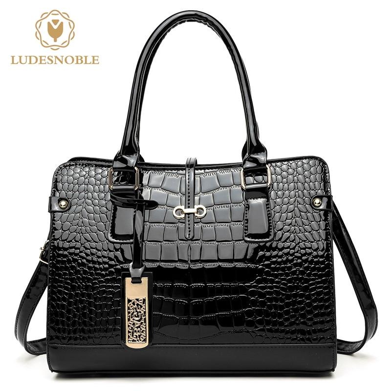 LUDESNOBLE Fashion Brand Women Handbag High Quality Patent Leather Crocodile Elegant Ladies Shoulder Bag Female Messenger Bags patent leather handbag shoulder bag for women