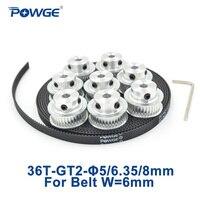 POWGE 8pcs 36 teeth GT2 Timing Pulley Bore 5mm 6.35mm 8mm + 5Meters width 6mm GT2 open Synchronous Belt 2GT pulley 36Teeth 36T