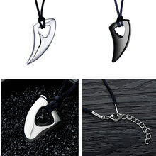 High Quality Stainless Steel Black Wolf Tooth Necklace Punk Biker Mens Pendant Necklaces Fashion Choker Drop Shipping Wholesale(China)