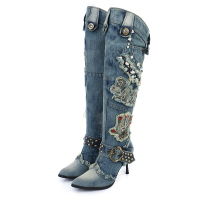 KNCOKAR New Blue Denim Water Wash Knee High Stiletto Heels Pumps Cowboy Women 39 S Shoes
