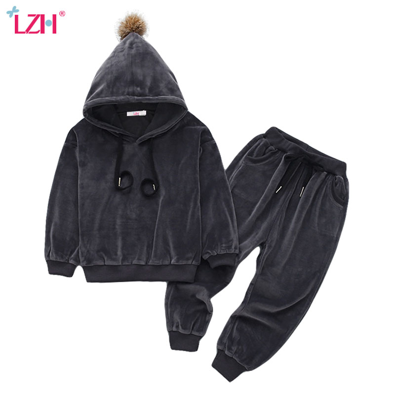 LZH Children Clothing 2017 Autumn Winter Boys Clothes Velvet Hoodies+Pant 2pcs Kids Tracksuit Sport Suit For Girls Clothing Sets kids clothes autumn winter boys gold velvet clothing set school children warm thicken sport suit fashion kids tracksuit