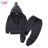 LZH Children Clothing 2017 Autumn Winter Boys Clothes Velvet Hoodies Pant 2pcs Kids Tracksuit Sport Suit