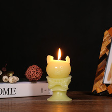 Tooarts Candle Scented Candles Aroma Candle Yellow Kitten Tomfeel Animal Skeleton Decorative Home Decor Wax Natural Cotton Wick