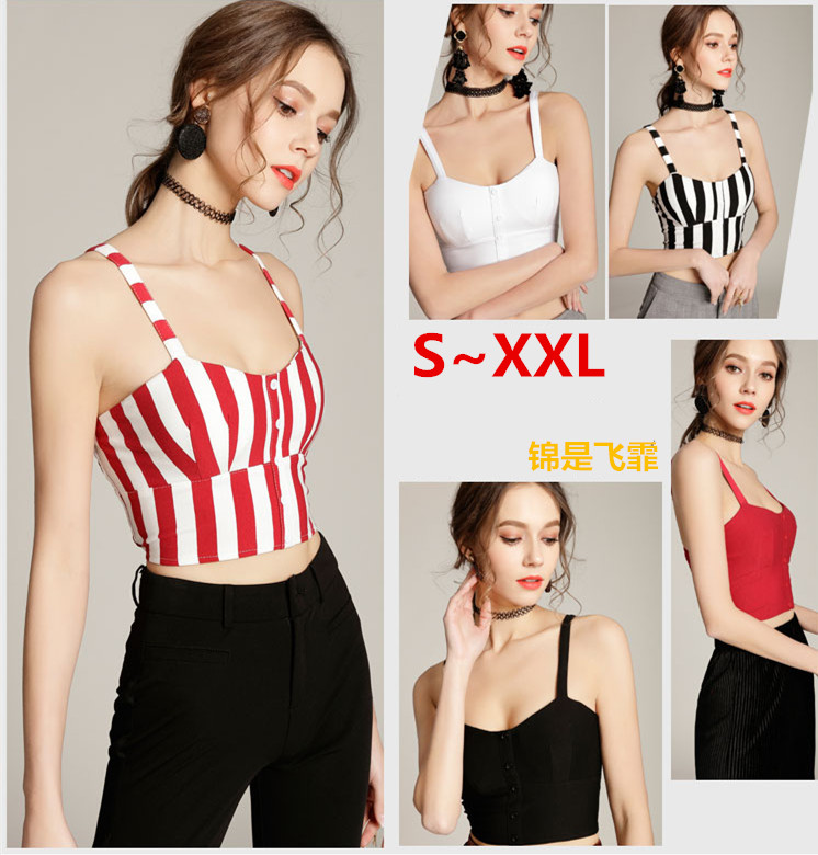 d2e4732f8f57a Bralette Crop Top Mujer Camisole Tank Summer 2018 Fashion Sexy Strappy Vest  Striped Black White Red Women Shirt Fitness Clothing-in Camis from Women s  ...