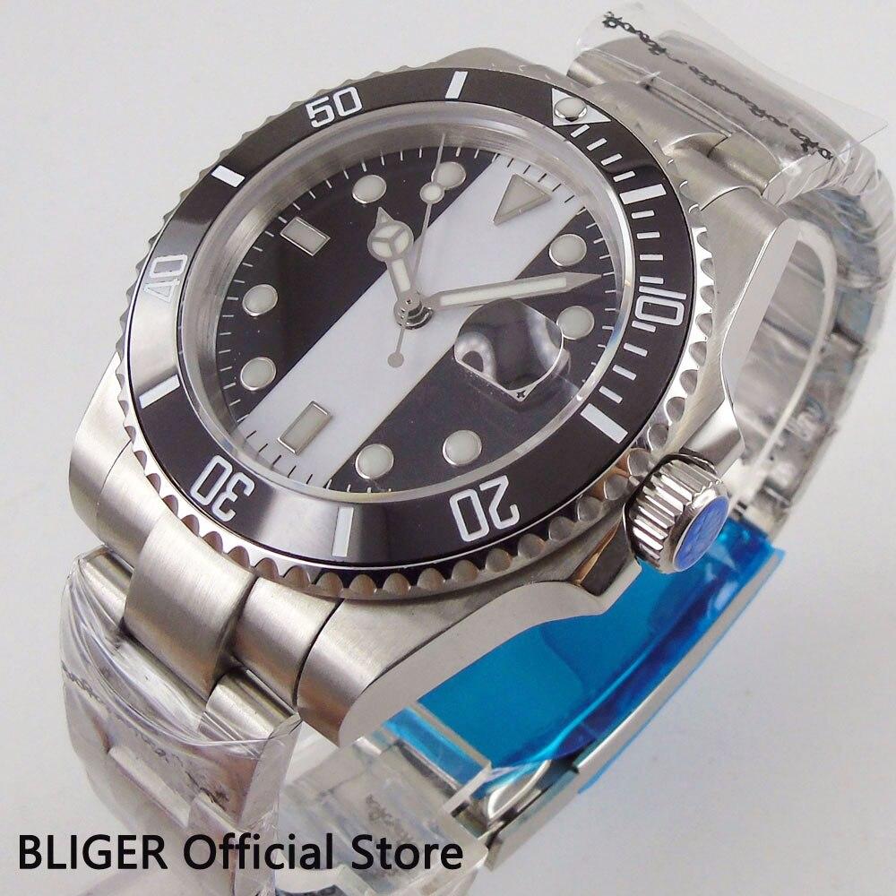 BLIGER 40 мм стерильный циферблат большие часы лицо черный керамический ободок светящиеся знаки сапфировое стекло Miyota автоматические Move Мужские t часы