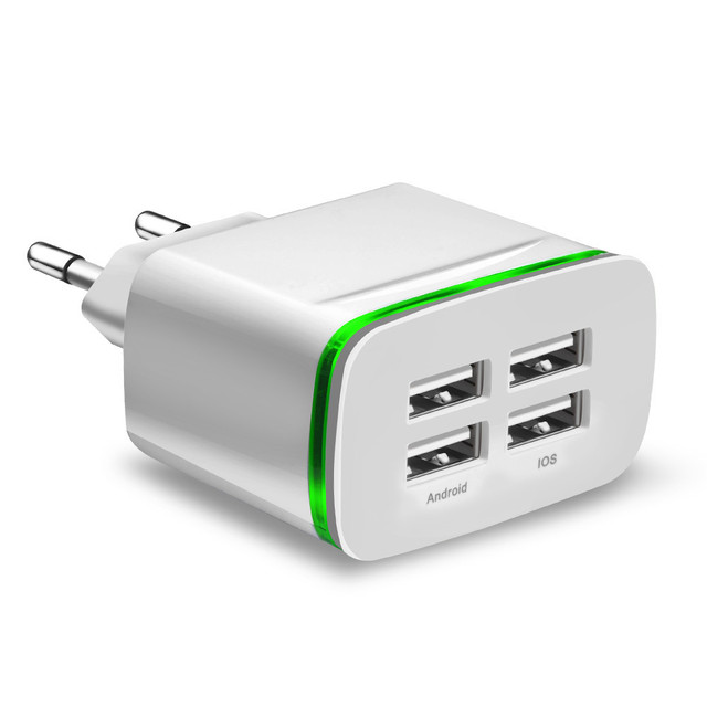 Universal 4 port USB charger adapter 5V4A travel charge LED lamp plug multi port HUB fast charger For iPhone iPad Samsung Xiaomi