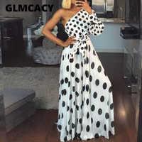 Women Casual Polka Dot Printed Dress Summer Sexy One Shoulder Long Sleeve Long Maxi Dress Elegant Party Club Sashes Vestidos