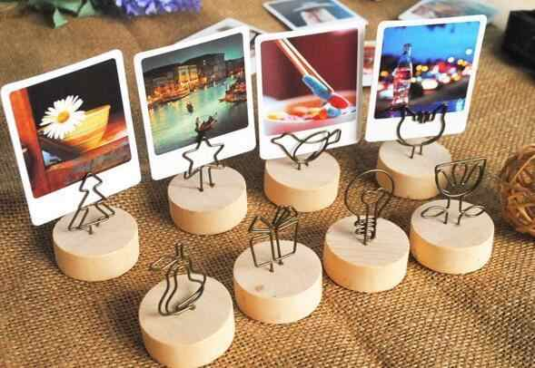 4CM Creative Round Wooden Photo Clip Memo Name Card Pendant Holder Note Articles Picture Frame Table Number Wedding Photo Holder