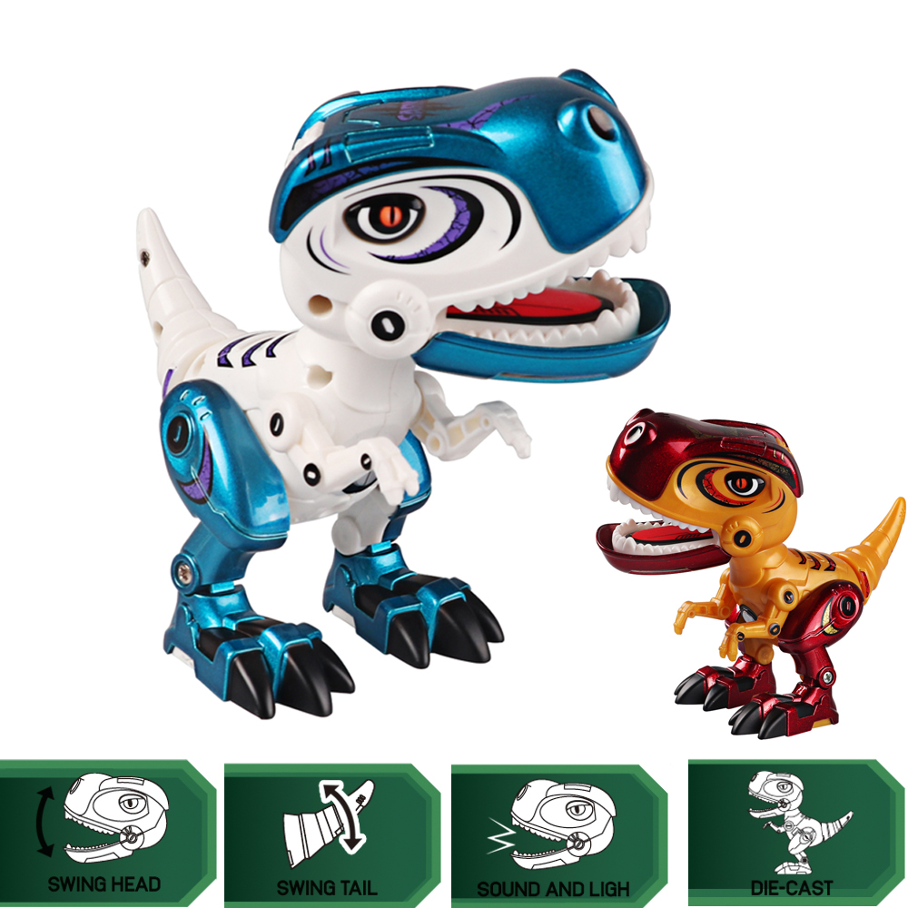 Metal Dinosaur Action Toy Figures Alloy Body Dinosaur Model Tyrannosaurus Toys With Sound&Light Early Education For Children Kid