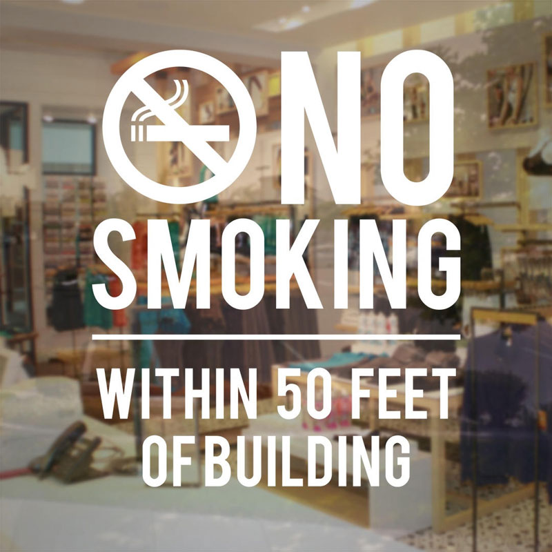 No Smoking Within 50 Feet Of Building Sign - Store Business Vinyl Decal Sticker Glass Door Window Sticker For Store Office NW14