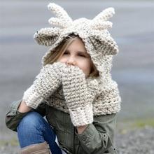 Creative Children's elk Christmas hat Novelty Handmade Knitting Wool Hat Mask Hat Halloween Christmas Party Hand-Knitted Unisex