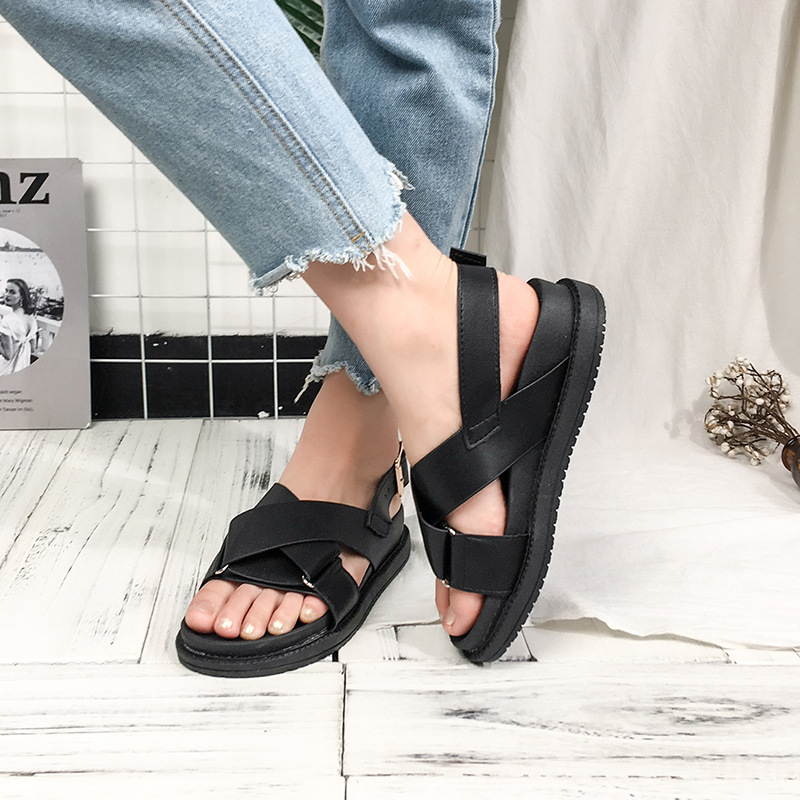 Back Strap Open Toe Flat Flat with Platform Sandals Women Buckle Solid Ladies Shoes Buckle Strap Casual Fashion Basic Sandals