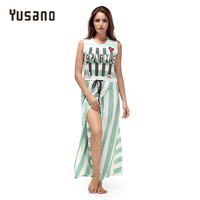 Yusano Women S Nightgown Sexy Long Nightshirt Sleeveless O Neck Nighty Sleepwear Dress Striped Split Nightwear