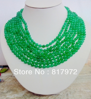 8 Rows Necklace 6mm Green Bead Choker Pendant Necklace Woman Party