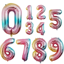Rainbow Number Balloons Foil Balloon 1st 30th 40th Birthday 0 1 2 3 4 5 6 7 8 9 Digital Baby Shower Party Decoration