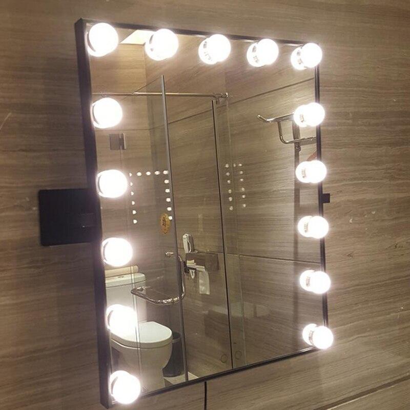 Hollywood Super Star Stijl LED Voorkomen de nagel muur Vanity Make Up Spiegel Lichten van wit gele lichten swap touch screen - 6