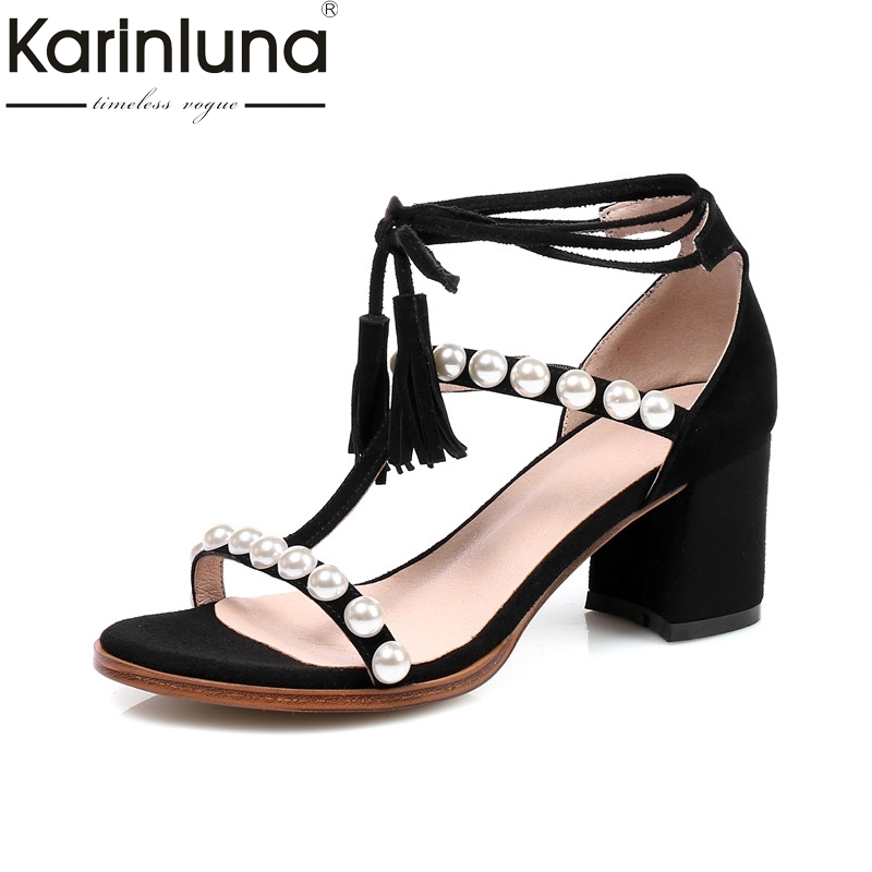 Karinluna 2018 Summer Brand Natural Kid Suede ankle-wrap Sandals Beading Big Size 33-43 Shoes Woman High Chunky Heels Shoe rousmery 2017 ankle wrap rhinestone high heel sandals woman abnormal jeweled heels gladiator sandals women big size 43