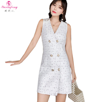Yuxinfeng Double Breasted White Tweed Dress 2018 Autumn Short Dress Women Sleeveless V Neck Female Office Dresses Ladies Clothes