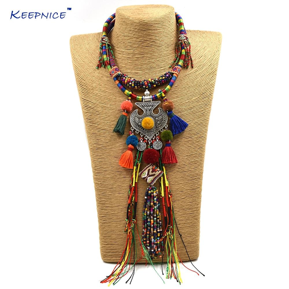 New Bohemian boho ethnic beaded tassel choker Necklace handmade colorful beads long fringe Anchor Pendants statement Necklace alloy fringe statement necklace