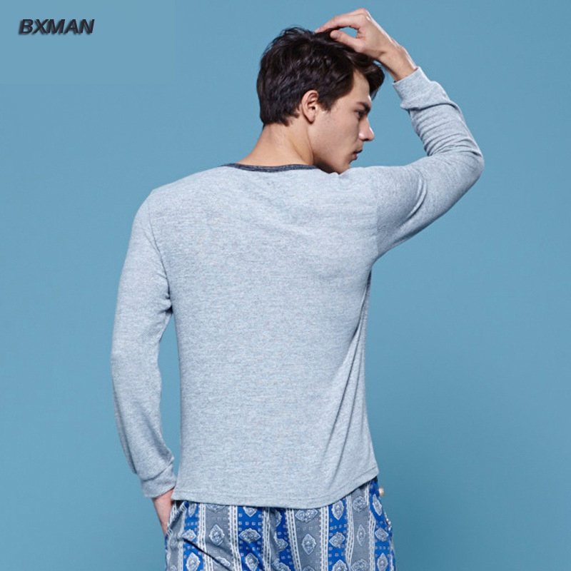 BXMAN Brand Men s High Quality Pijamas Hombre Casual Pajamas Sets Knit  Cotton Solid O Neck Full Sleeve Men Pajamas Sets Modal 54-in Men s Pajama  Sets from ... 085fe7ca6