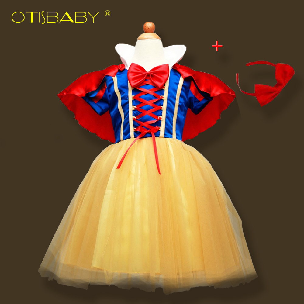 OTISBABY 4 layers Snow White Cosplay Dresses for Girls Party Princess Dress Children's Tulle Dress Baby Girl Tutu Dress Infant недорго, оригинальная цена