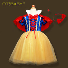 472de163b Otisbaby 4 слоя Белоснежка Косплэй Платья для Обувь для девочек детское  праздничное платье принцессы; платье