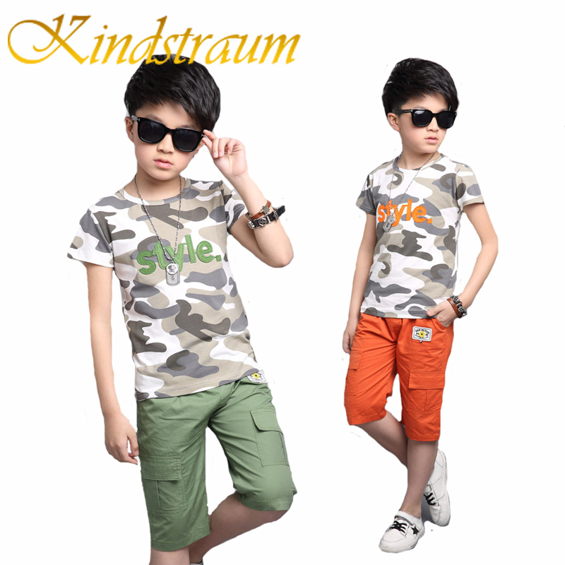 Kindstraum Summer Children Boy Clothes Sets Kids 2pcs Camouflage T-Shirt  Boys Solid Casual Shorts Child Clothing Suits, MC681