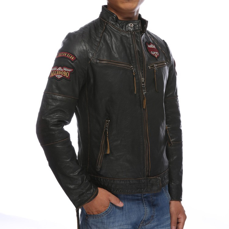 Skulls genuine black cowskin motorcycle Indian chief pattern wind jacket biker leather coat men
